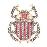 AN ANTIQUE RUBY AND DIAMOND BUG BROOCH, 19TH CENTURY in yellow gold and silver, designed as a