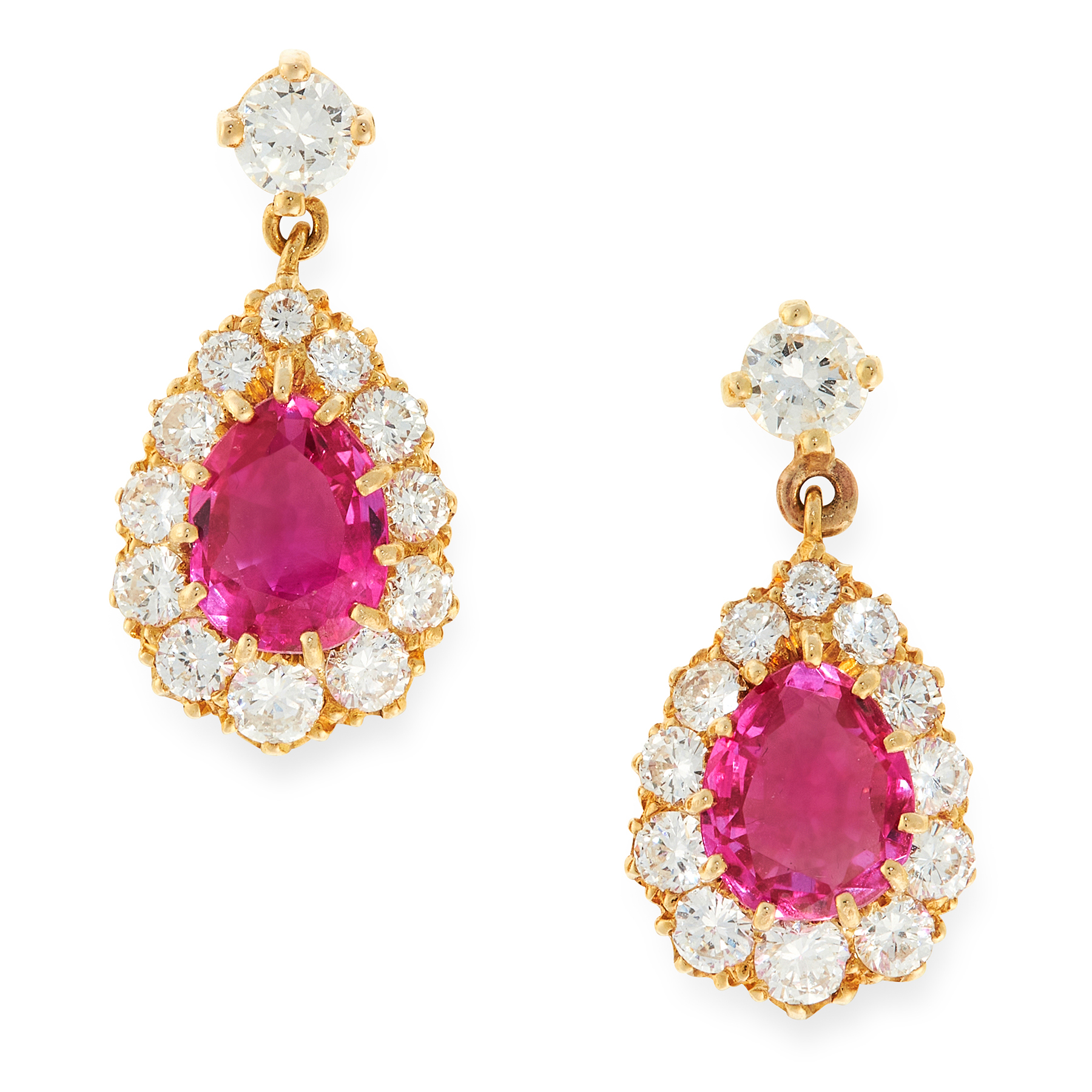 A PAIR OF BURMA NO HEAT RUBY AND DIAMOND EARRINGS in 18ct yellow gold, each set with a pear cut
