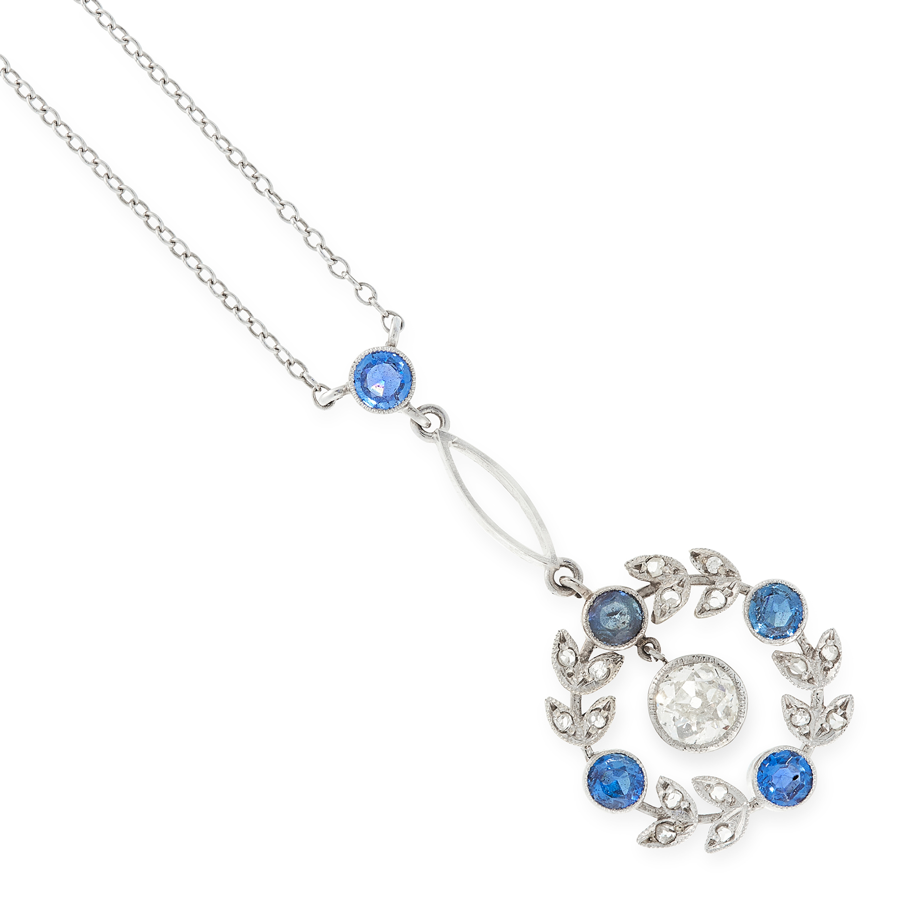 A DIAMOND AND SAPPHIRE PENDANT NECKLACE set with an old cut diamond of 0.55 carats, suspended within