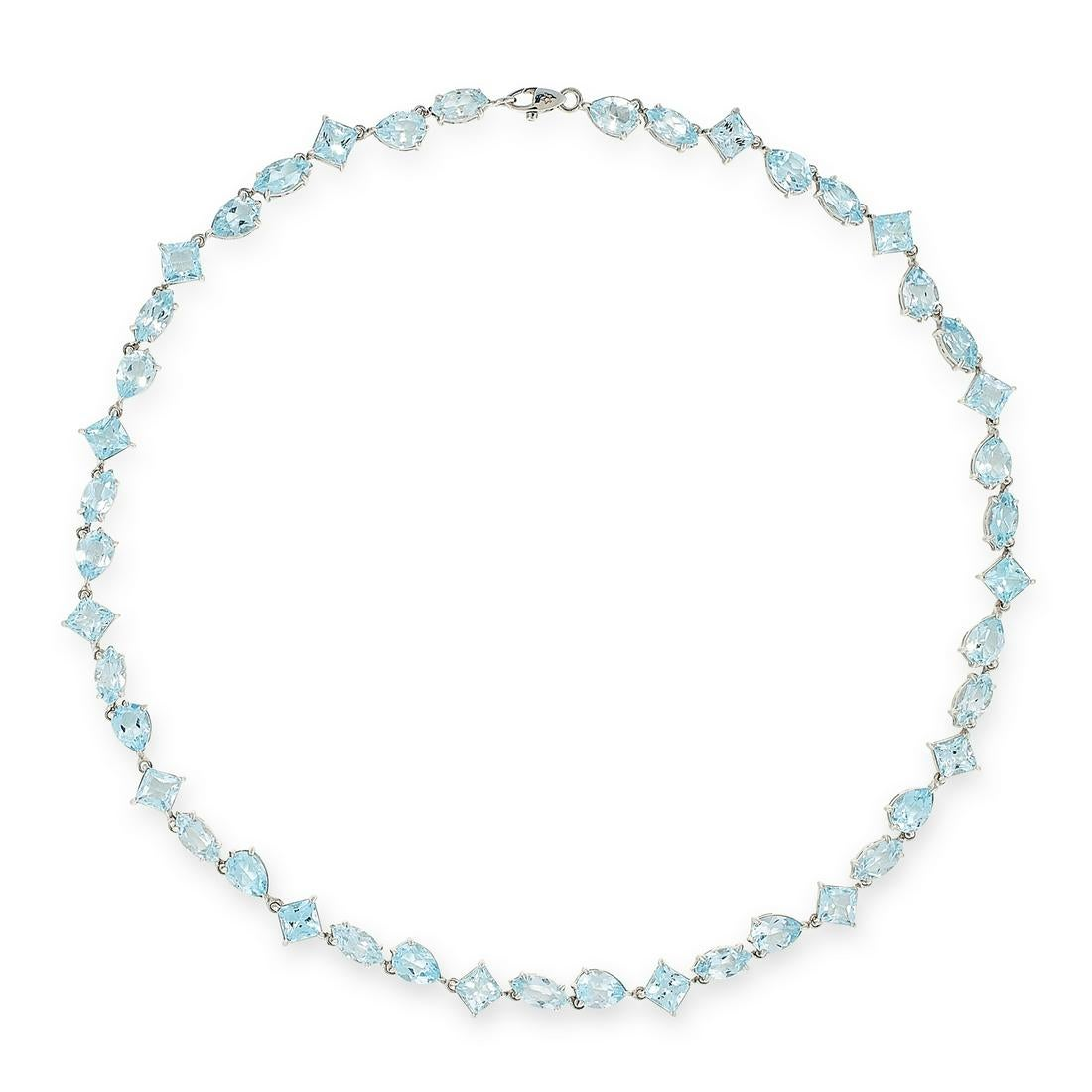 AN AQUAMARINE NECKLACE, H STERN in 18ct white gold, comprising a single row of forty-four