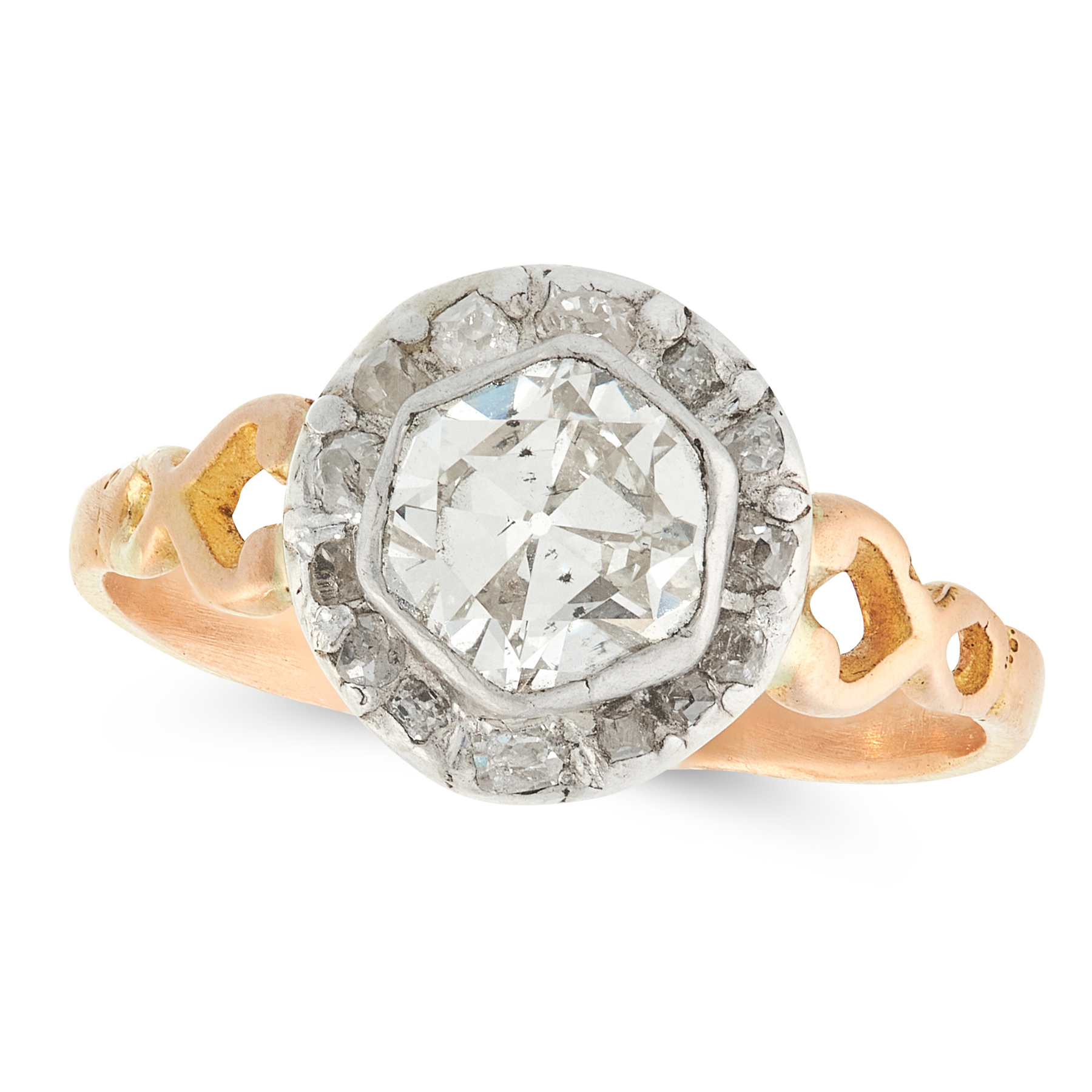 AN ANTIQUE DIAMOND SOLITAIRE RING, 19TH CENTURY in yellow gold and silver, set with a central