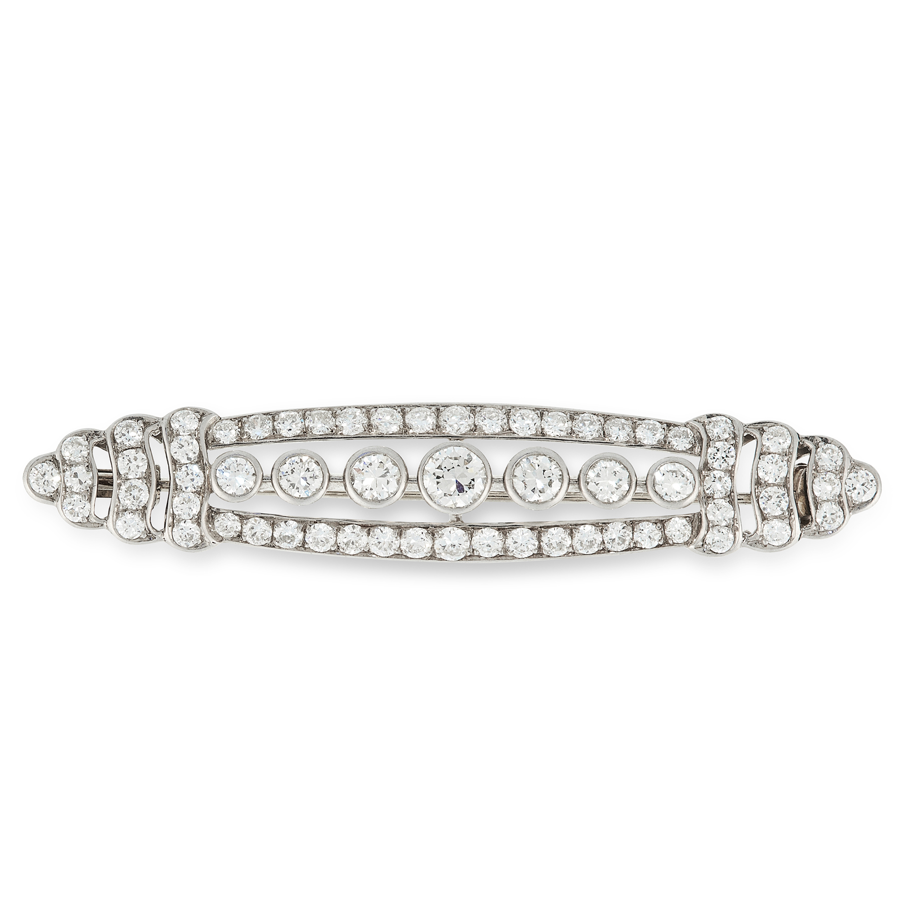 A DIAMOND BROOCH in white gold, the elongated oval body set with a row of seven principal old