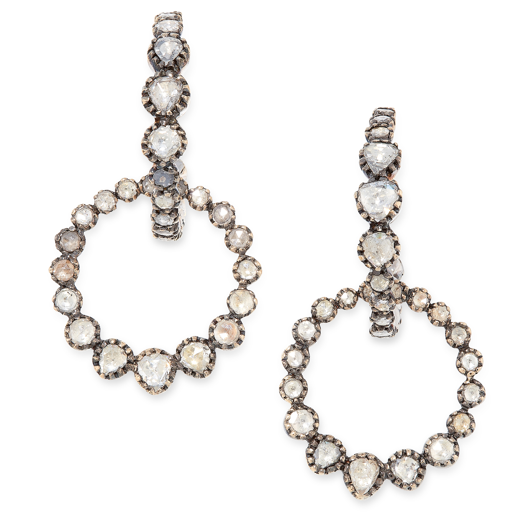 A PAIR OF ANTIQUE GEORGIAN DIAMOND HOOP EARRINGS, CIRCA 1800 in yellow gold and silver, each