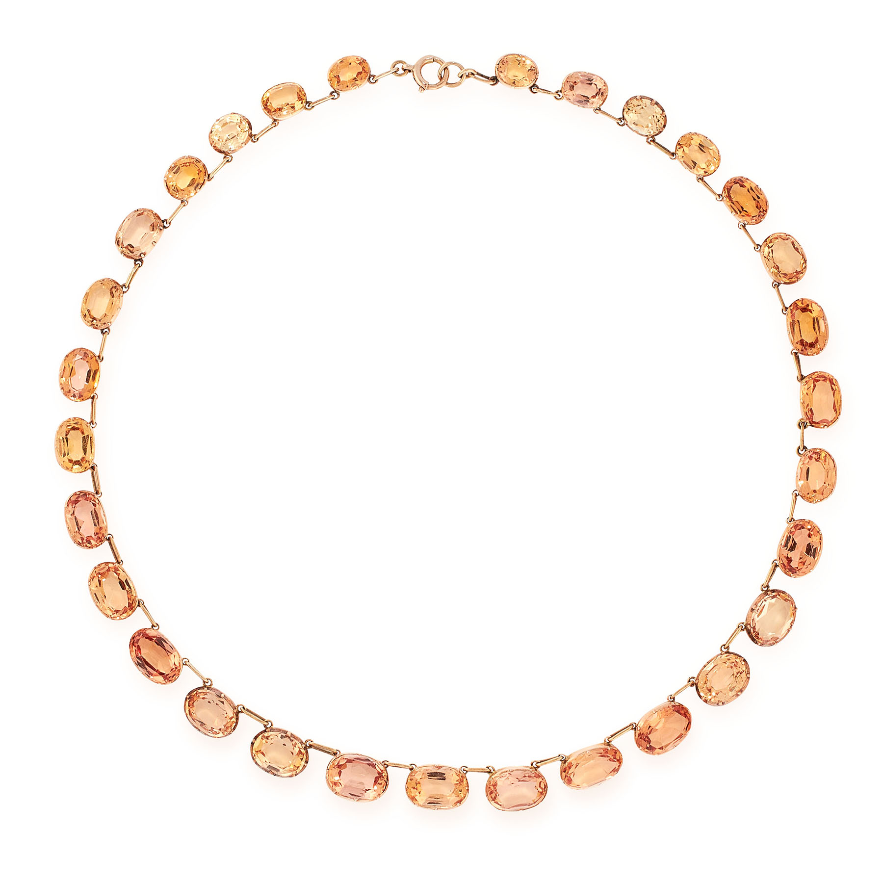 AN ANTIQUE IMPERIAL TOPAZ RIVIERE NECKLACE, 19TH CENTURY in yellow gold, comprising a single row