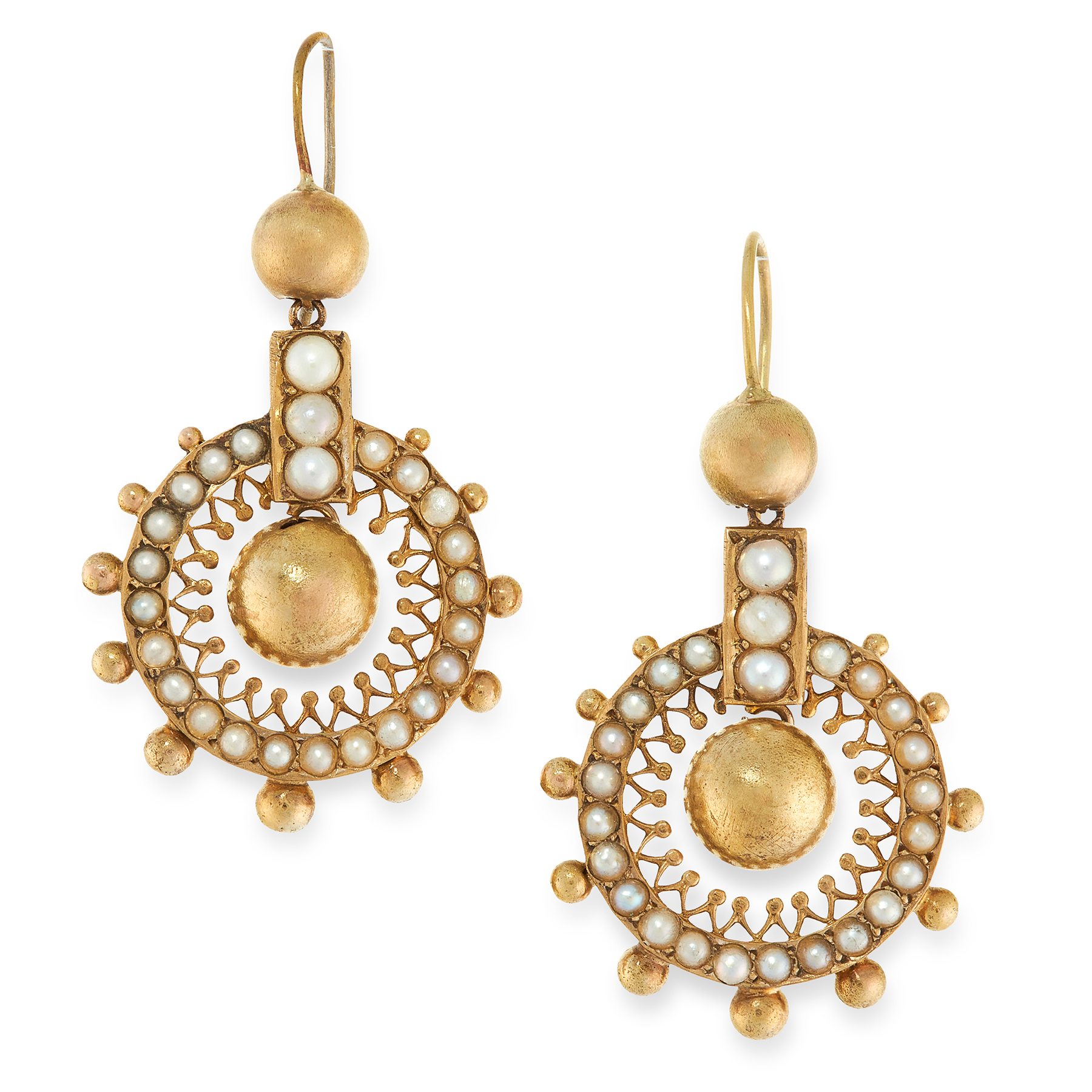 A PAIR OF ANTIQUE PEARL EARRINGS, 19TH CENTURY in yellow gold, in the Etruscan revival manner, the