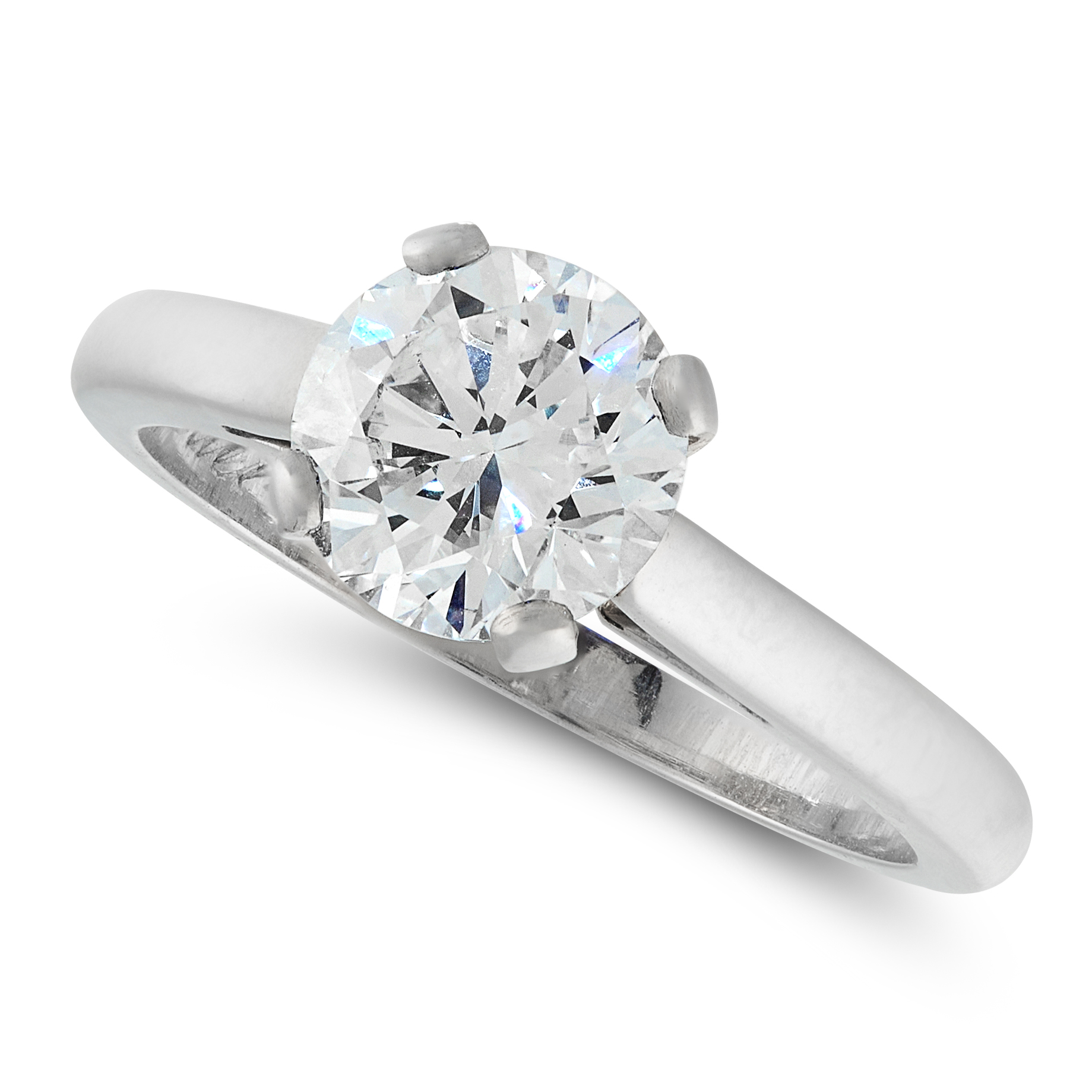 A SOLITAIRE DIAMOND RING, SIGNED CARTIER in platinum, set with a round cut diamond of 1.53 carats to