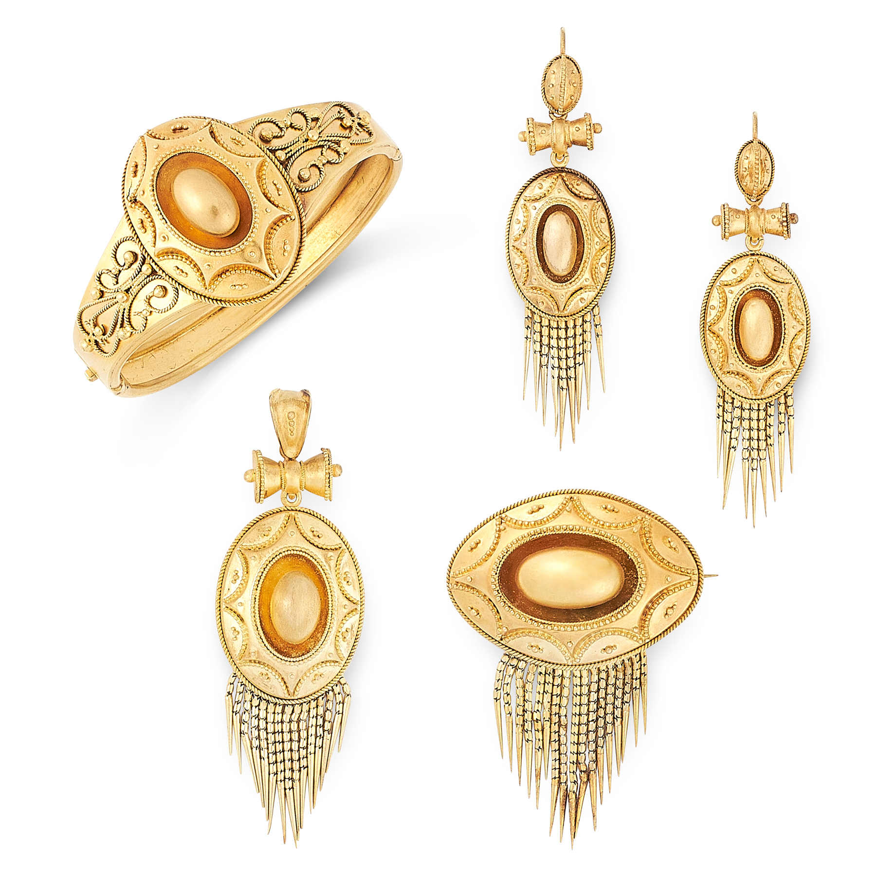 AN ANTIQUE MOURNING BANGLE, BROOCH, PENDANT AND EARRINGS SUITE, 19TH CENTURY in yellow gold, - Image 2 of 2