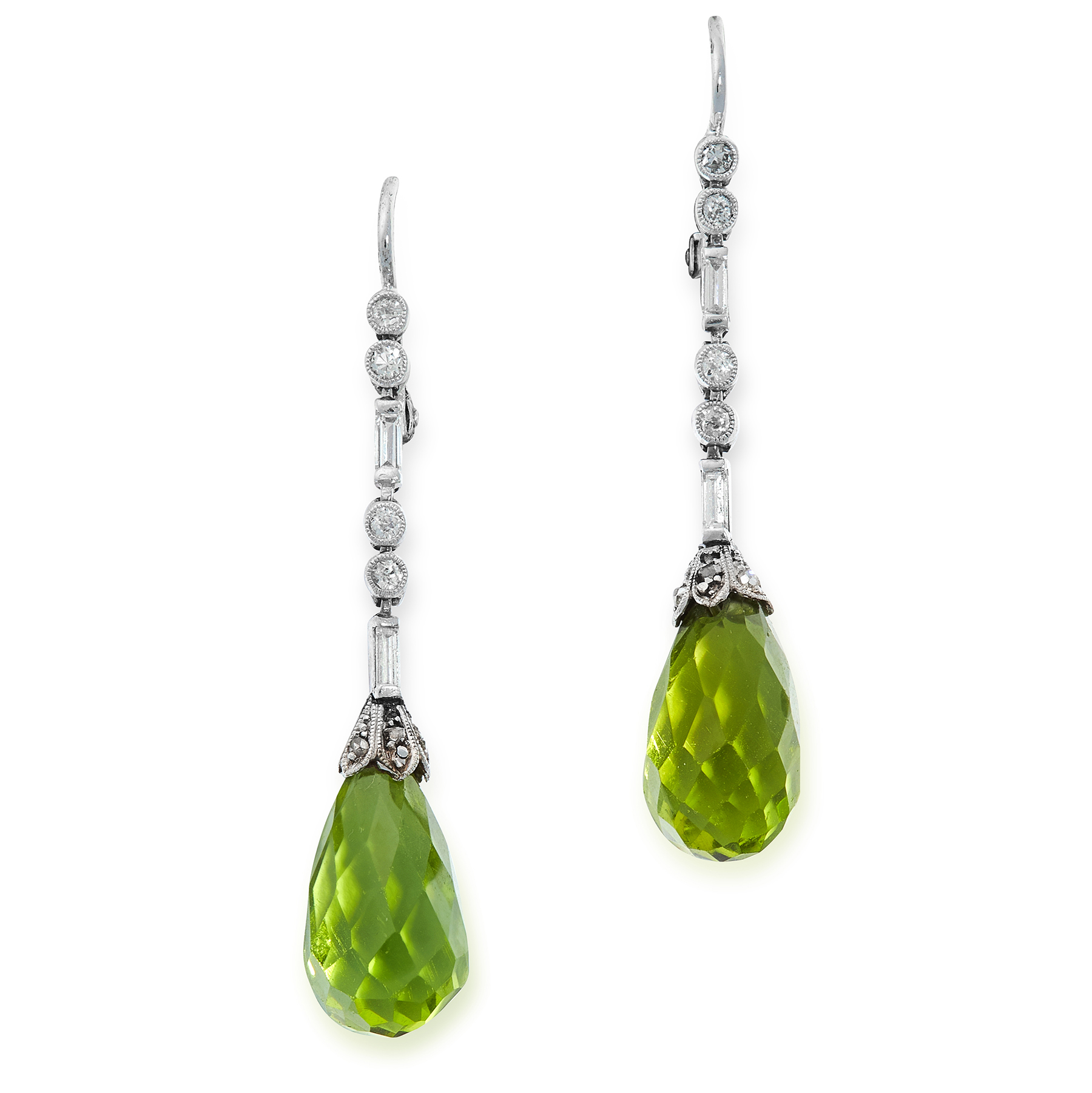 A PAIR OF ART DECO PERIDOT AND DIAMOND EARRINGS, EARLY 20TH CENTURY each set with a briolette drop