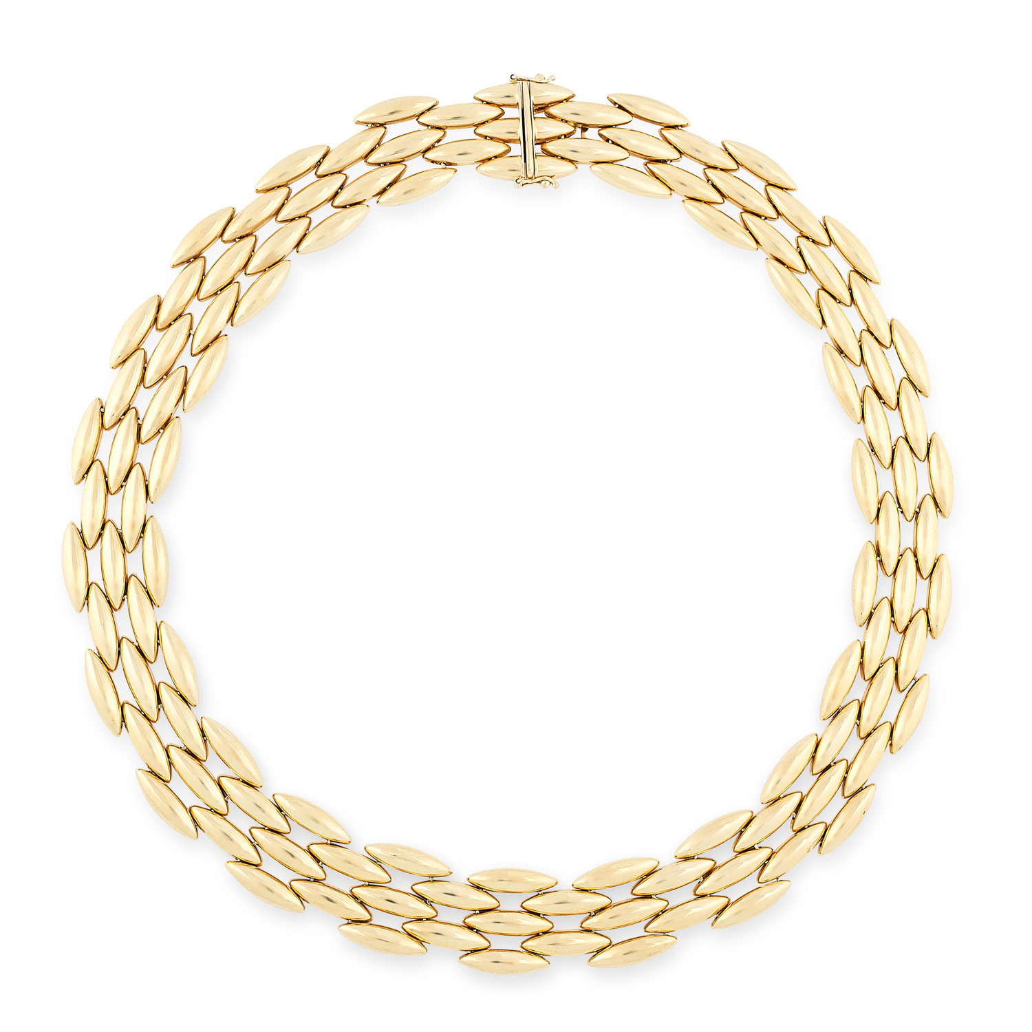 A VINTAGE GENTIANE NECKLACE, CARTIER in 18ct yellow gold, comprising rows of alternating articulated