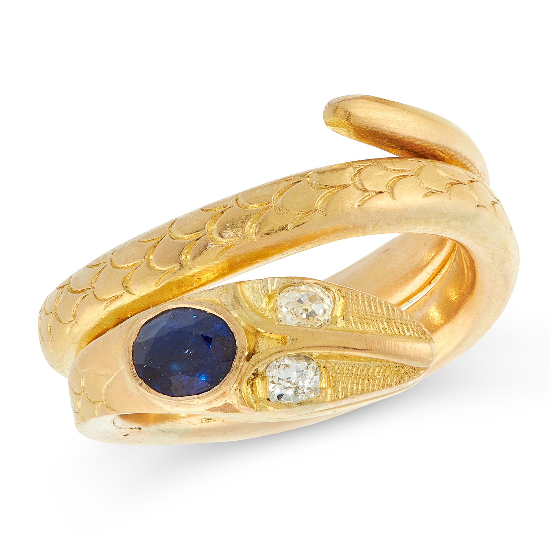 A SAPPHIRE AND DIAMOND SNAKE RING in high carat yellow gold, designed as a snake coiled around on