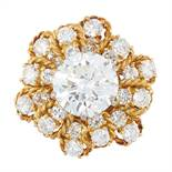 A VINTAGE 4.76 CARAT DIAMOND RING, BEN ROSENFELD 1964 in 18ct yellow gold, set with a central