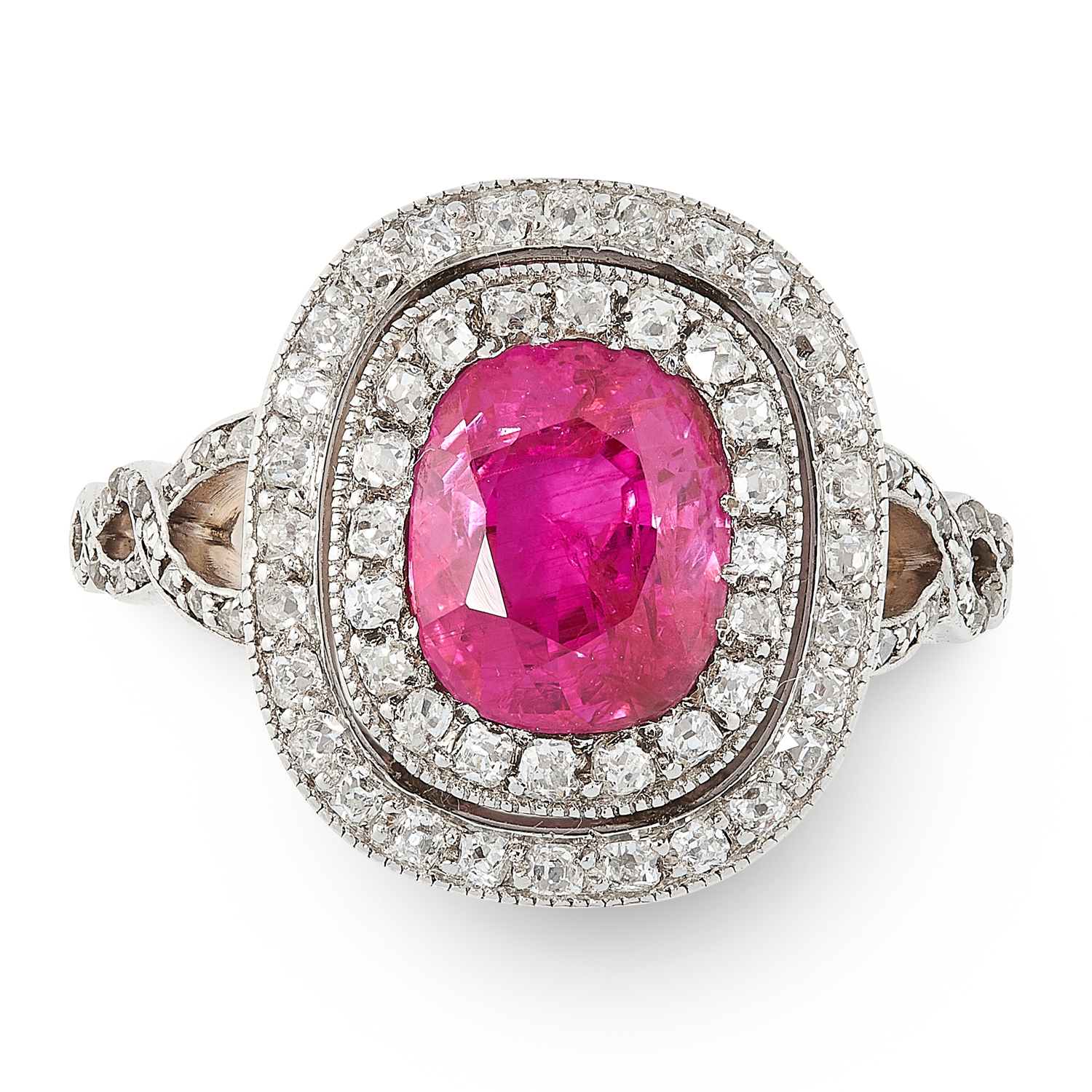 A BURMA NO HEAT RUBY AND DIAMOND RING in 18ct yellow gold, set with a cushion cut ruby of 2.85