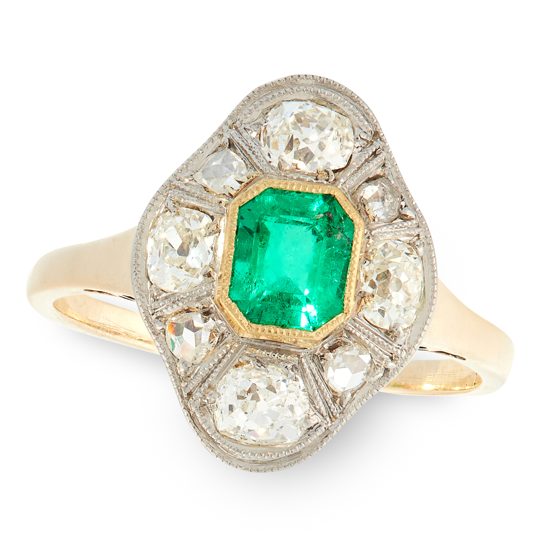 A COLOMBIAN EMERALD AND DIAMOND RING, CIRCA 1930 in 14ct yellow gold, set with an emerald cut