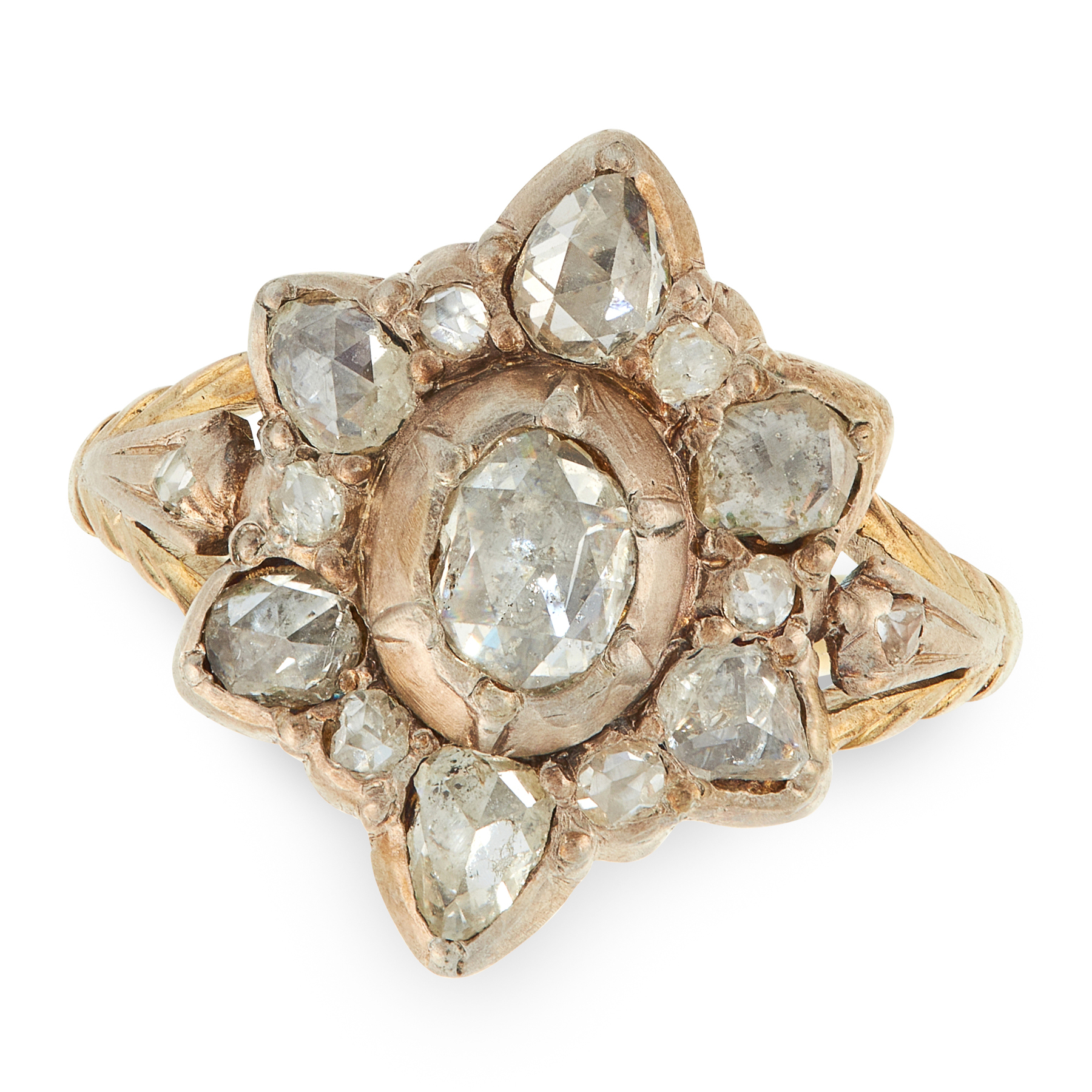 AN ANTIQUE DIAMOND RING, 19TH CENTURY in yellow gold and silver, set with a central rose cut diamond