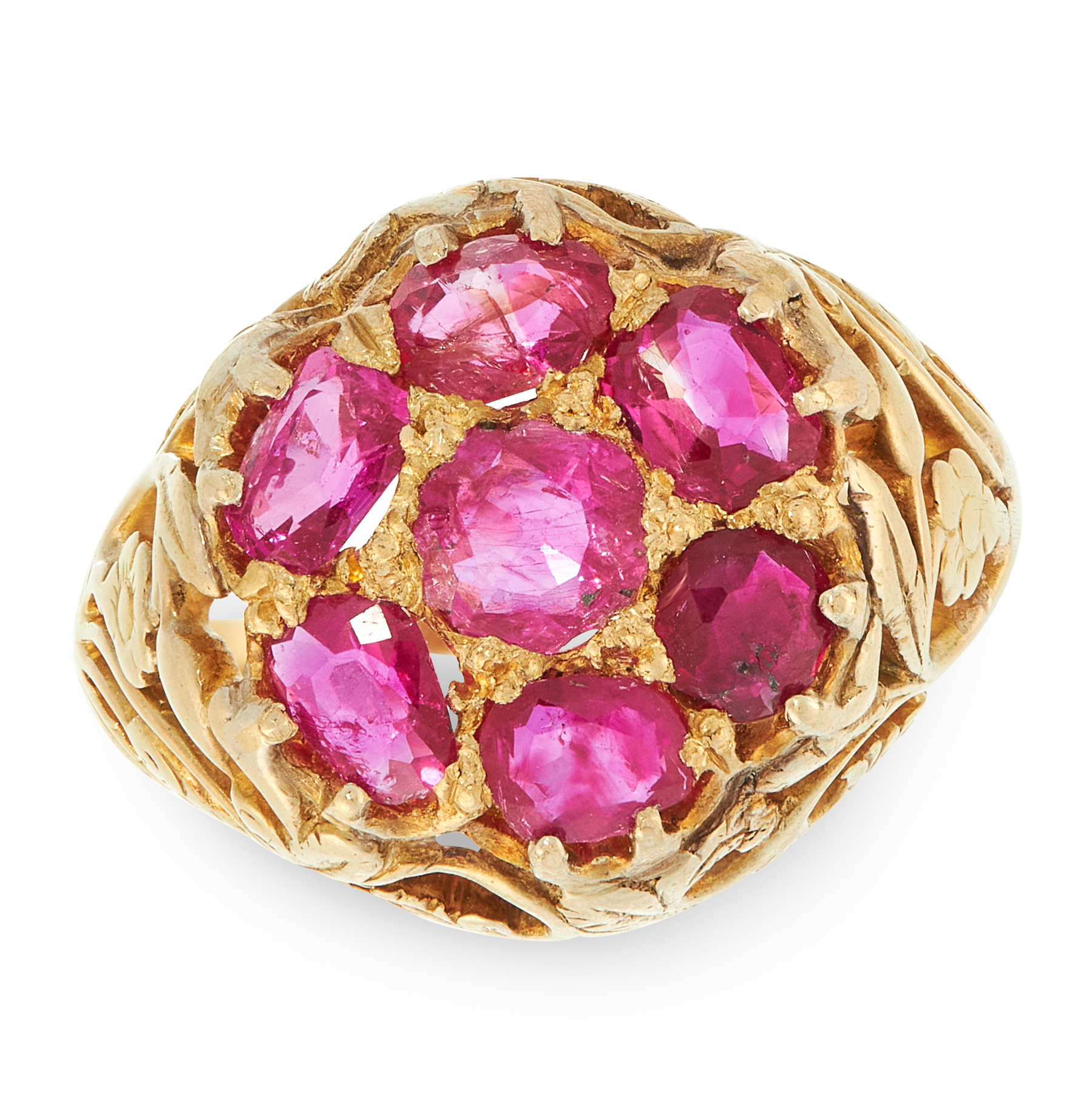 AN ANTIQUE RUBY DRESS RING, LATE 19TH CENTURY in yellow gold, set with a cluster of seven cushion