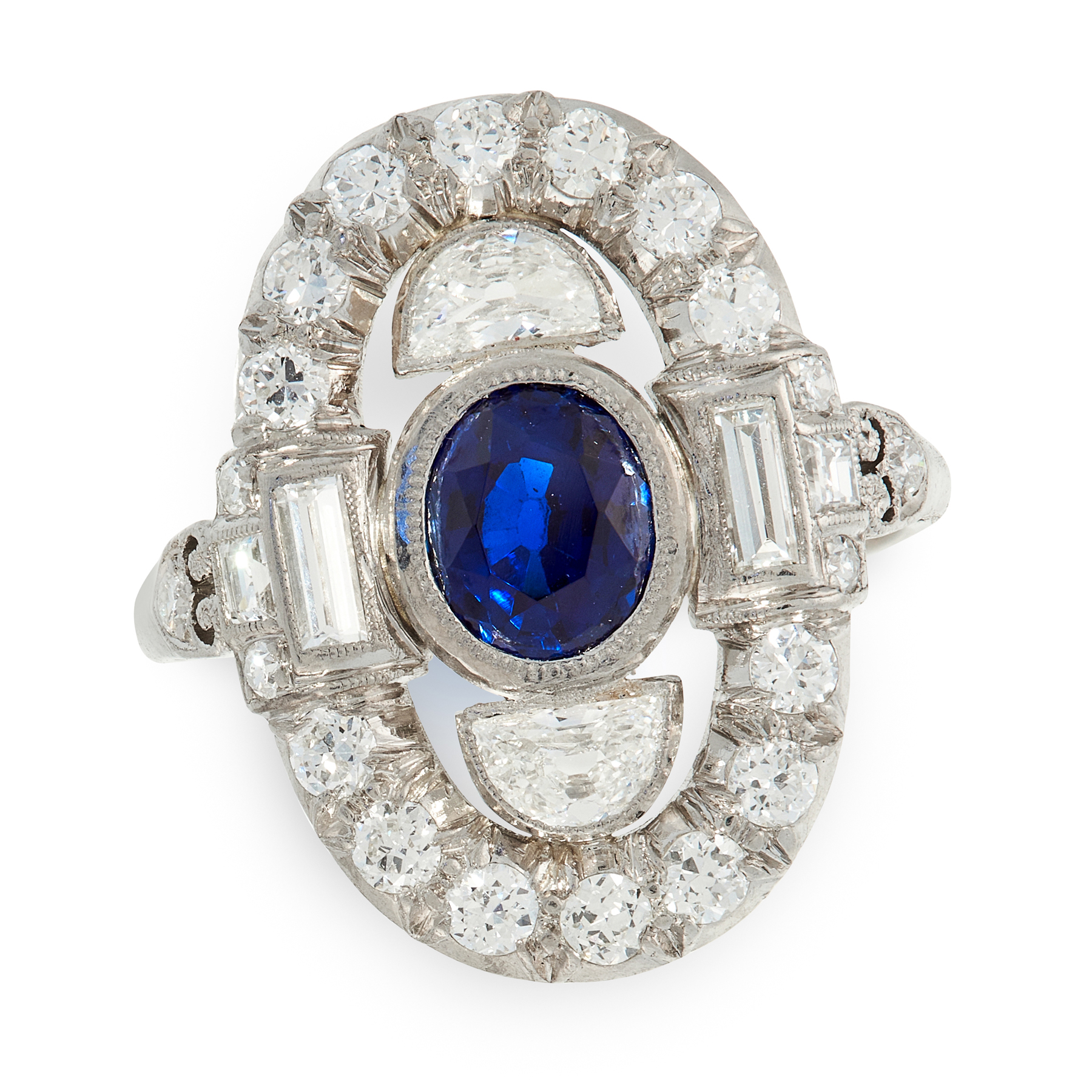 A SAPPHIRE AND DIAMOND RING, CIRCA 1950 POSSIBLY BY H STERN in platinum, set with an oval cut