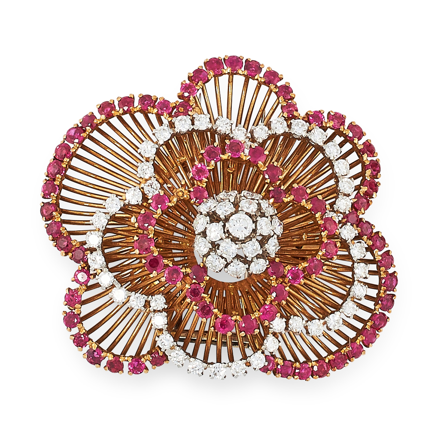 A VINTAGE RUBY AND DIAMOND BROOCH, CIRCA 1960 in high carat yellow gold, designed as a cluster of - Image 2 of 2