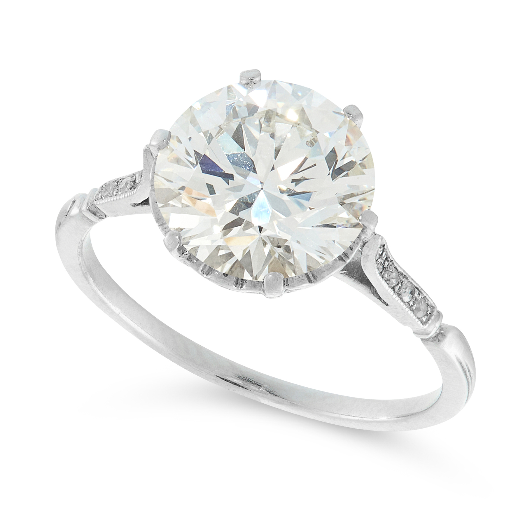 A SOLITAIRE DIAMOND RING set with a transitional cut diamond of 2.78 carats, between tapering