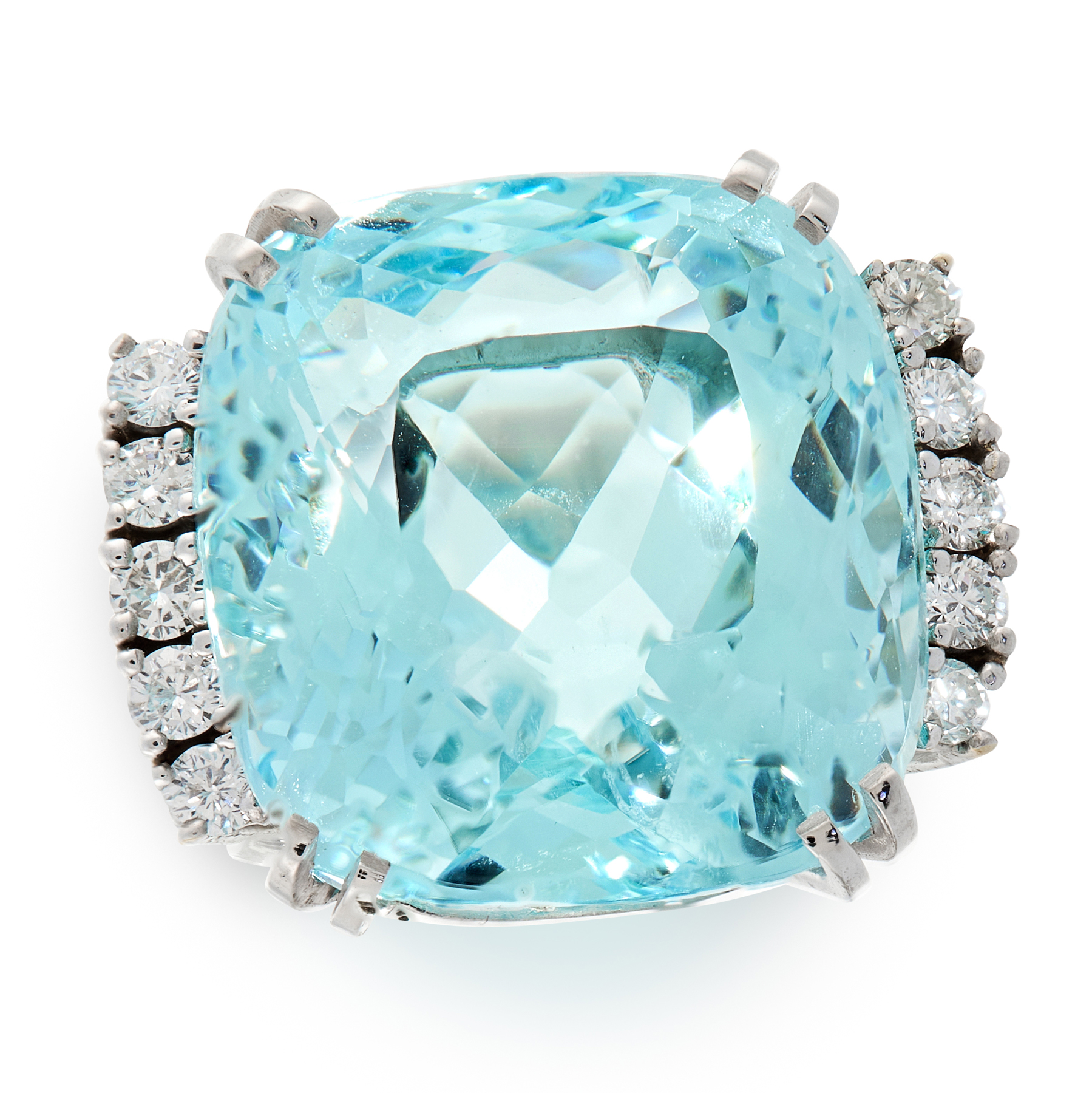 AN AQUAMARINE AND DIAMOND DRESS RING set with a cushion cut aquamarine of 27.76 carats, between rows