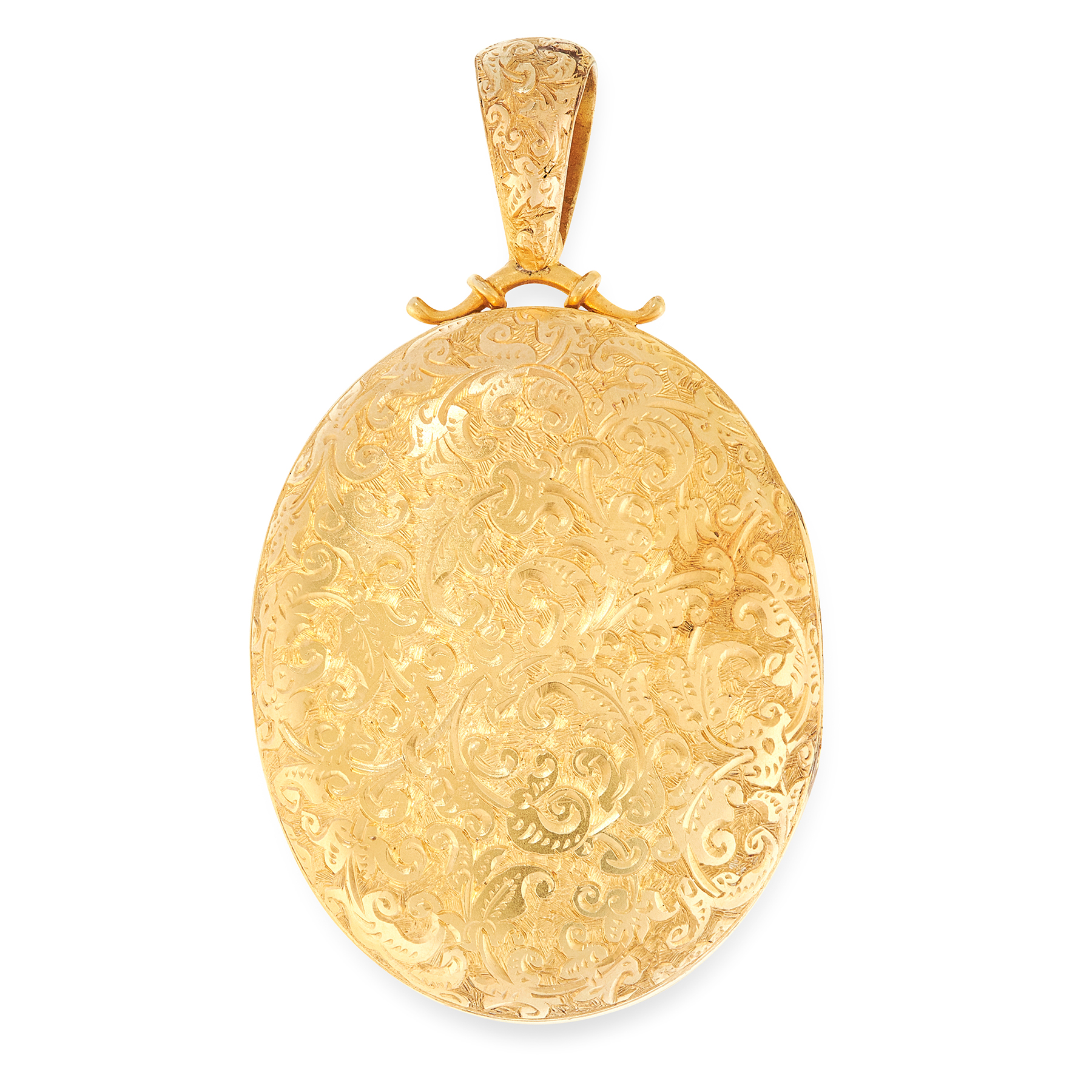 AN ANTIQUE HAIRWORK MOURNING LOCKET PENDANT, 19TH CENTURY in yellow gold, the oval hinged body