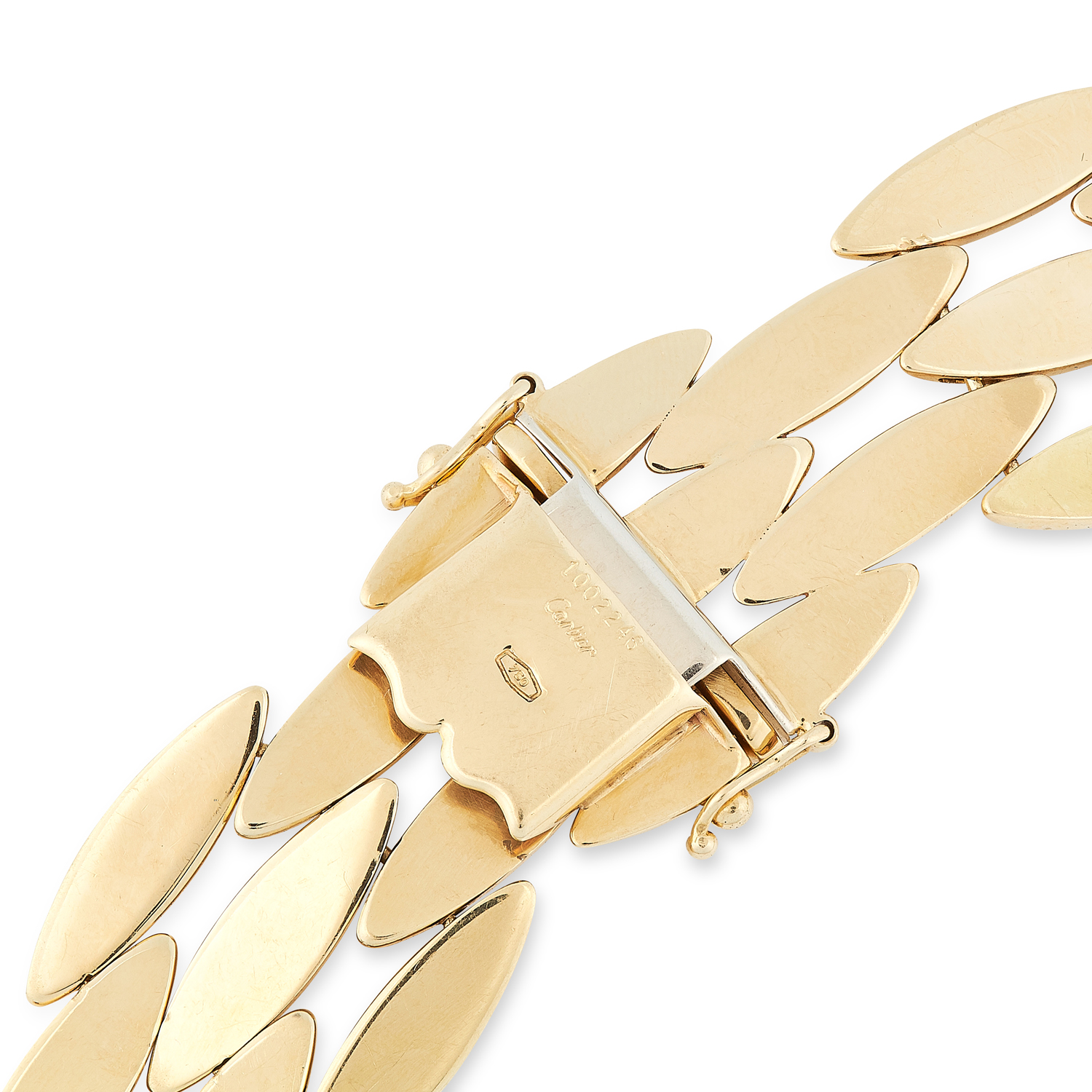 A VINTAGE GENTIANE NECKLACE, CARTIER in 18ct yellow gold, comprising rows of alternating articulated - Image 3 of 4