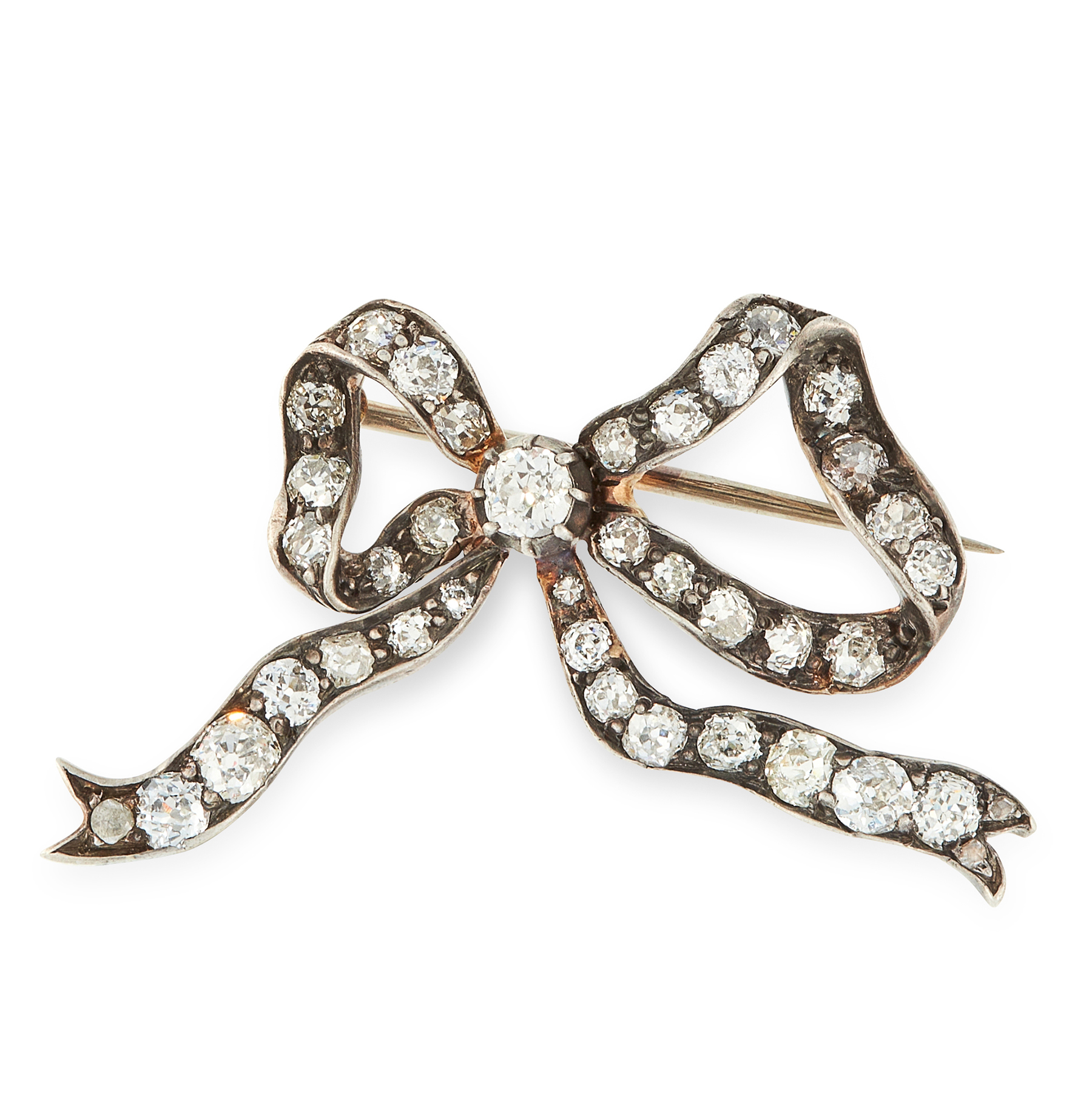 AN ANTIQUE DIAMOND BOW BROOCH, 19TH CENTURY in yellow gold and silver, designed as a ribbon tied