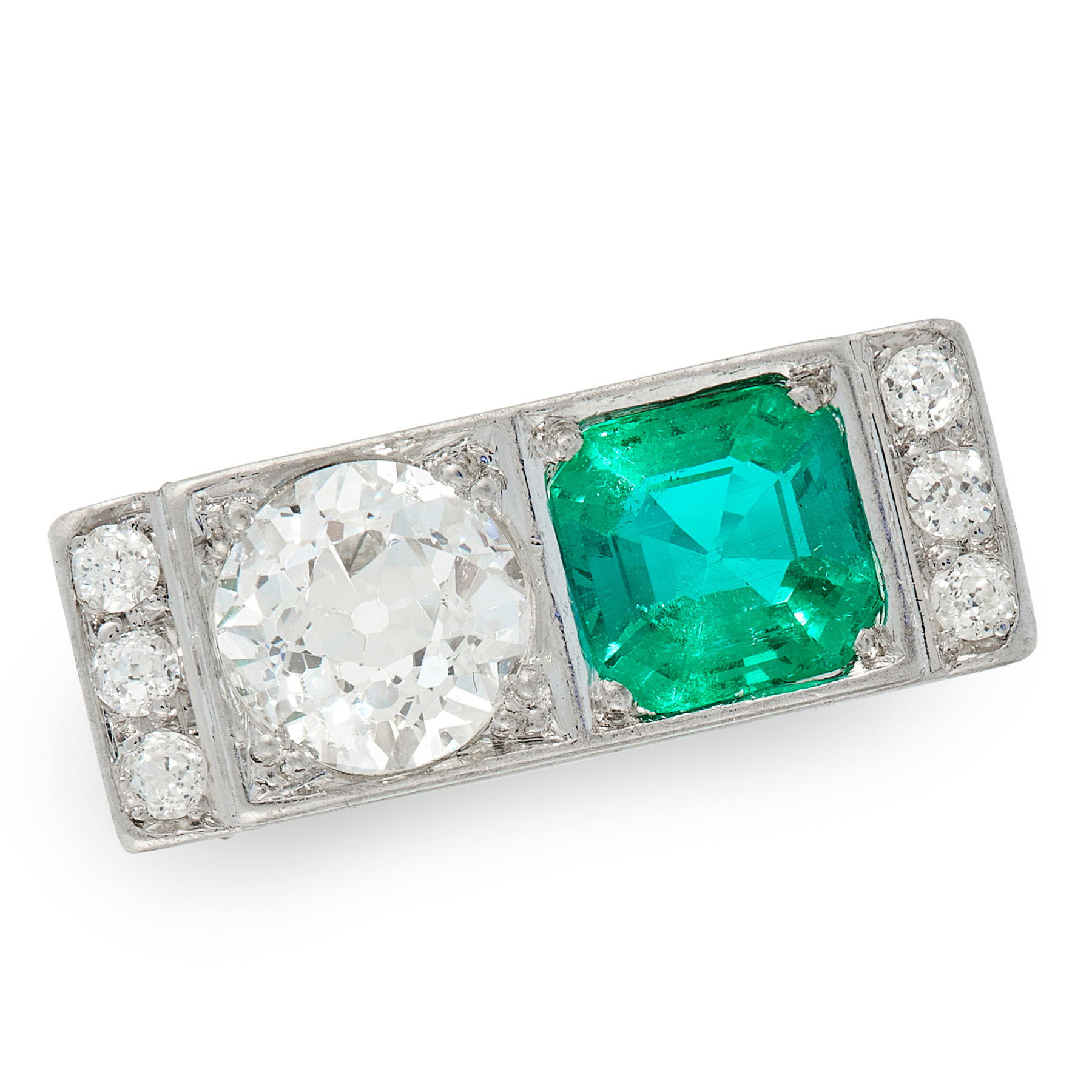 AN ART DECO COLOMBIAN EMERALD AND DIAMOND RING the rectangular face set with an emerald cut