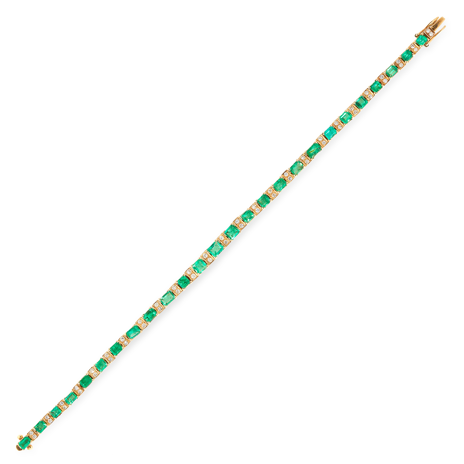 AN EMERALD AND DIAMOND BRACELET in 18ct yellow gold, comprising a single row of twenty six graduated