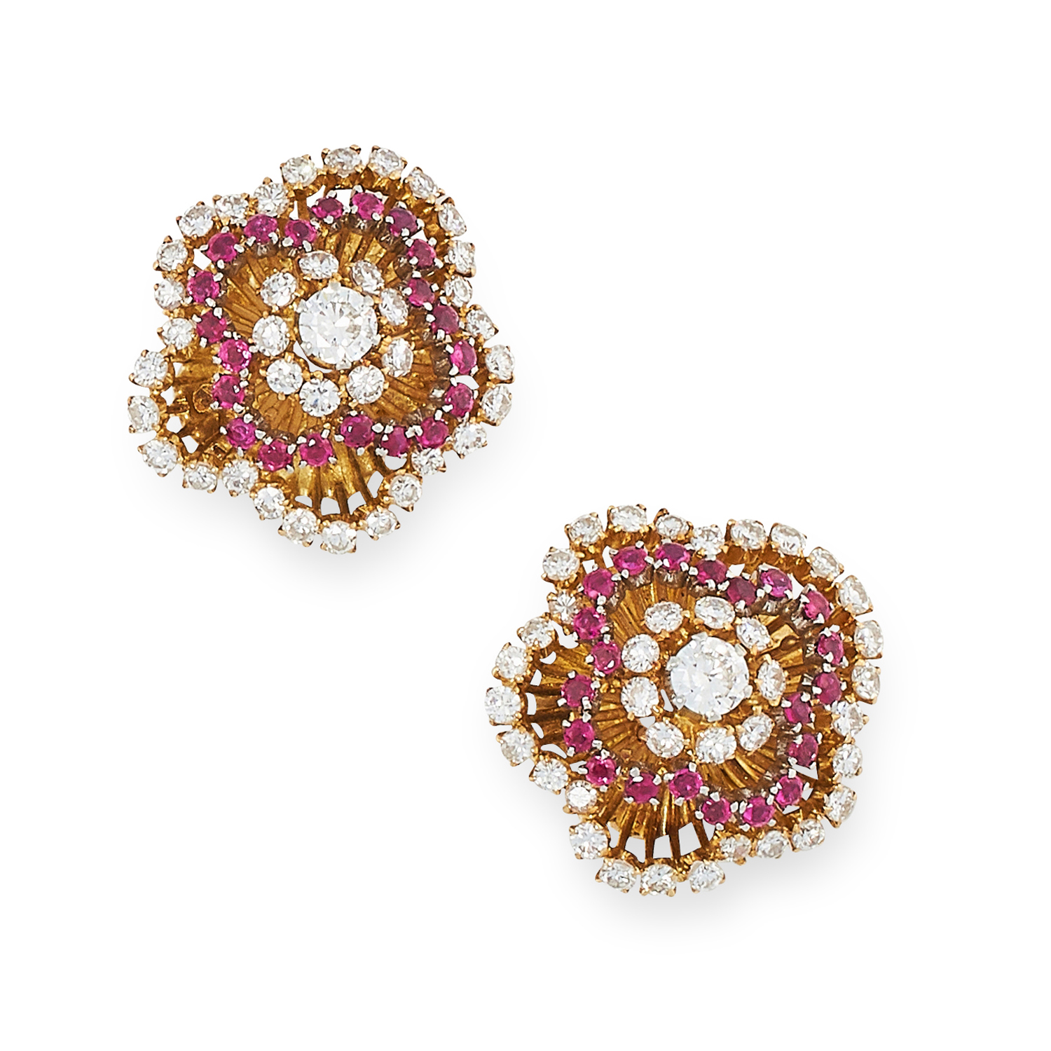 A PAIR OF RUBY AND DIAMOND CLIP EARRINGS, 1960s in high carat yellow gold, each designed as a floral - Image 2 of 2