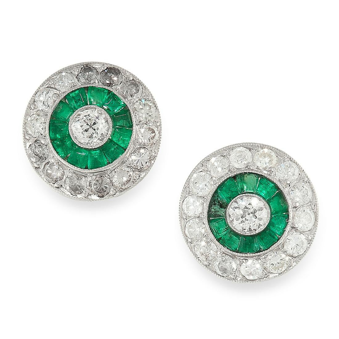 A PAIR OF EMERALD AND DIAMOND STUD EARRINGS of target design, each set at the centre with an old cut