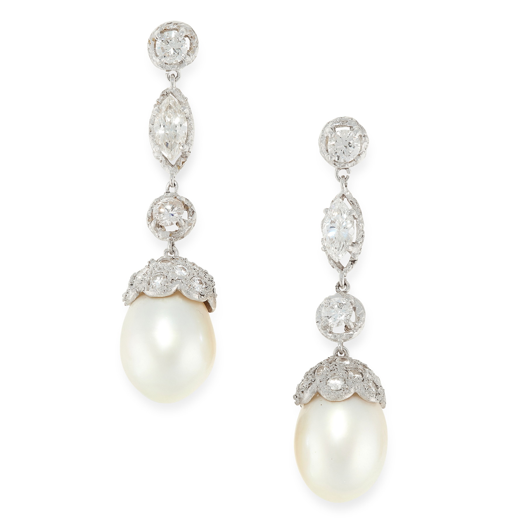 A PAIR OF PEARL AND DIAMOND DROP EARRINGS in high carat gold, each set with a drop shaped pearl - Image 2 of 2