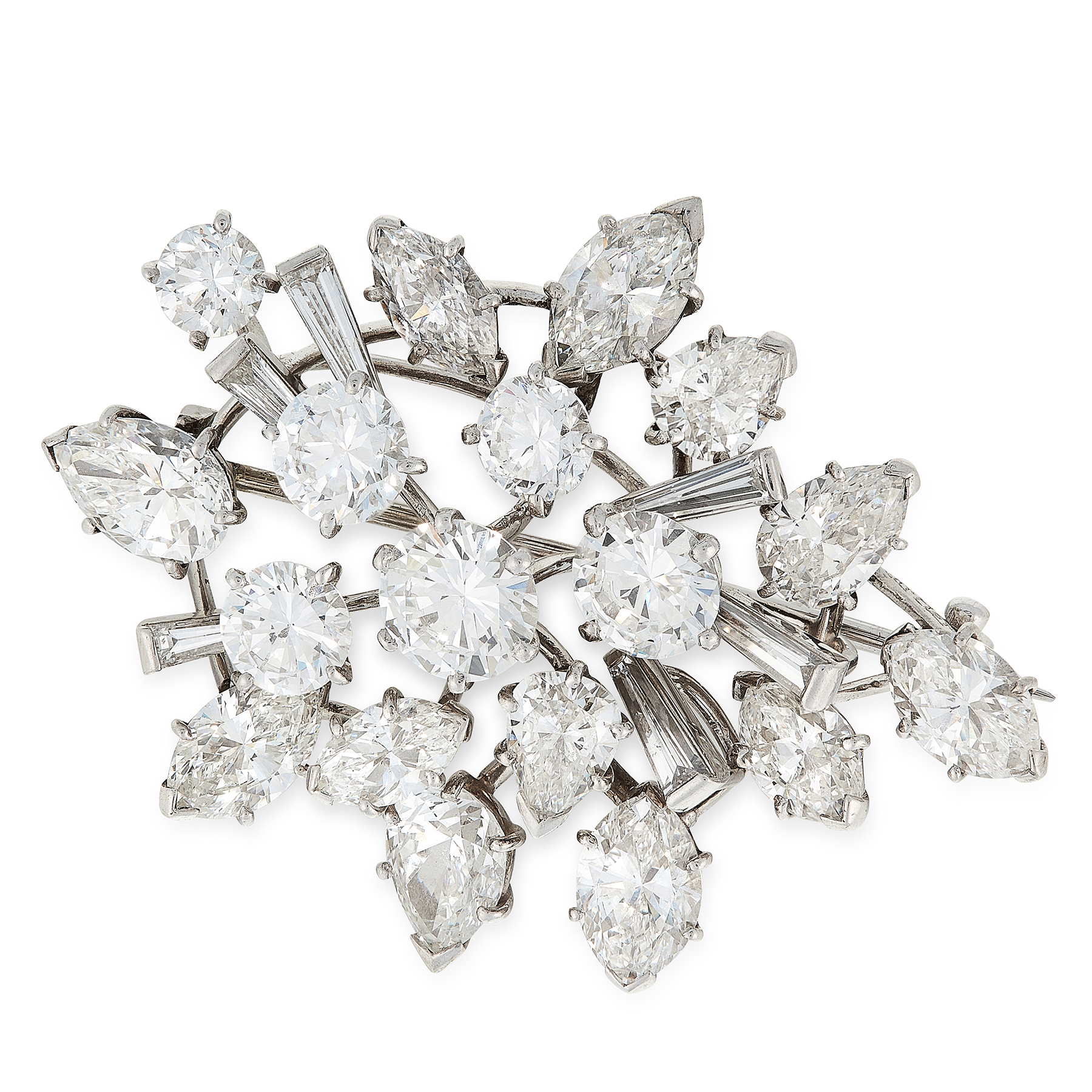 A VINTAGE DIAMOND BROOCH, CARTIER in 18ct white gold and platinum, designed as a spray of round,