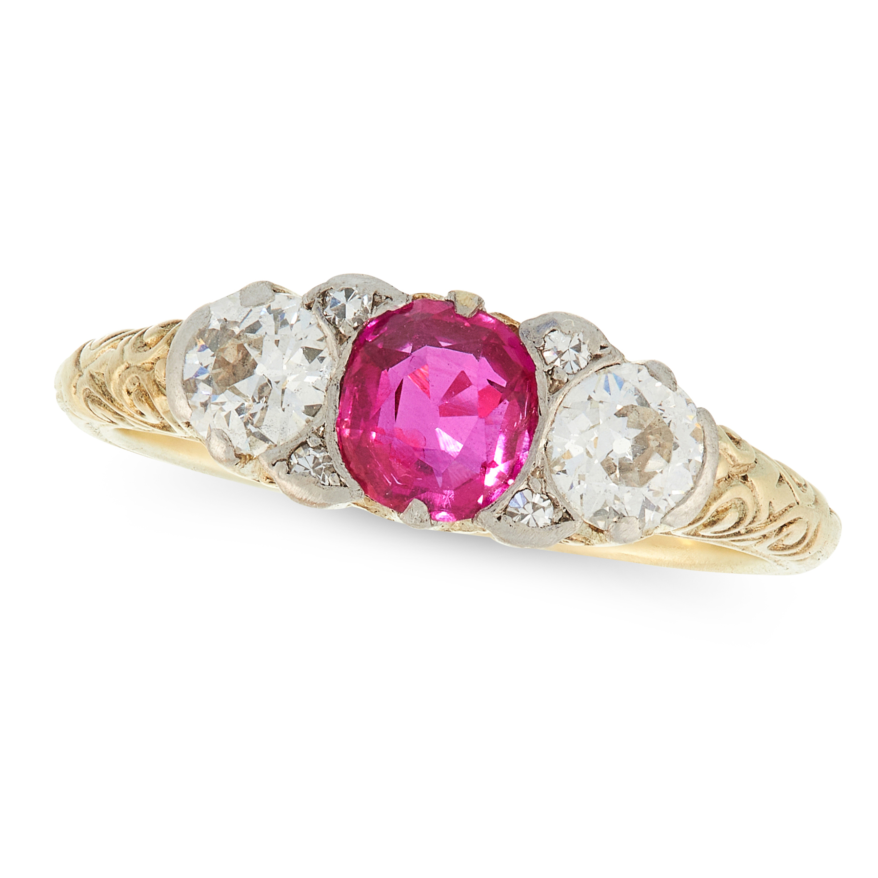 AN ANTIQUE BURMA NO HEAT RUBY AND DIAMOND RING in high carat yellow gold, set with a central cushion - Image 2 of 2