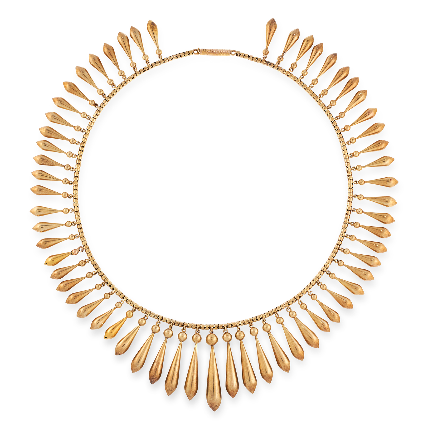 AN ANTIQUE FRINGE NECKLACE, 19TH CENTURY in yellow gold, the snake link chain suspending a series of