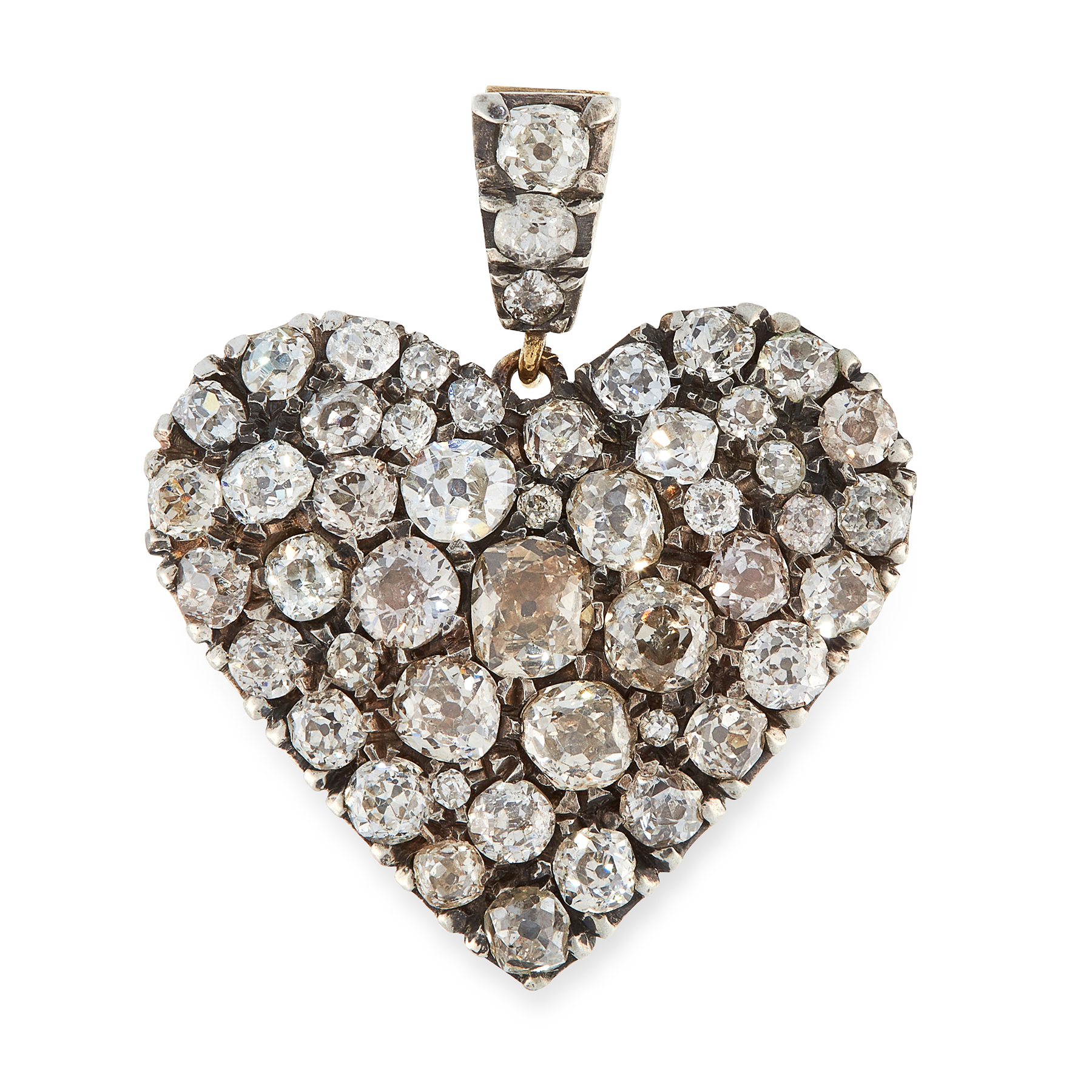 A DIAMOND HEART PENDANT in yellow gold and silver, designed as a heart, set allover to the front