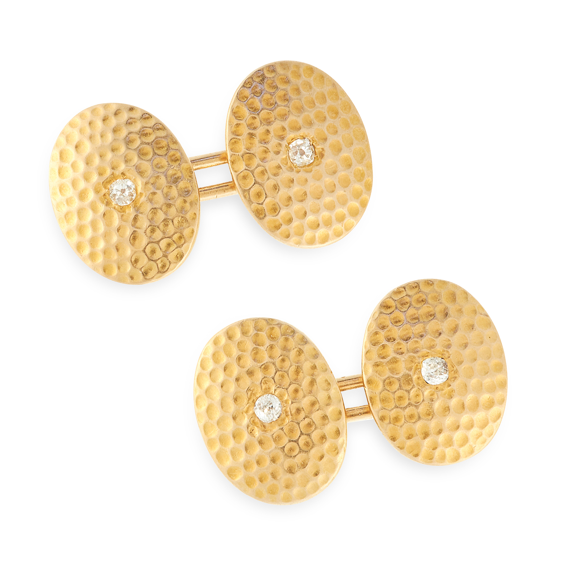 A PAIR OF DIAMOND CUFFLINKS, EARLY 20TH CENTURY in 18ct yellow gold, each formed of two oval faces - Image 2 of 2