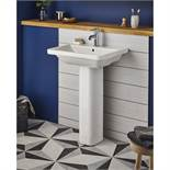 EURO 500mm DESIGNER BASIN WITH PEDESTAL. CAN BE WALL OR PEDESTAL MOUNTED. RRP £395. BRAND NEW, BOXED