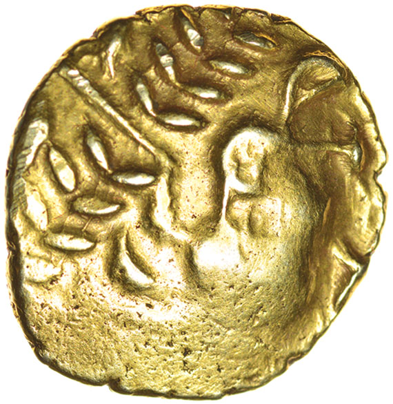 Lot 24 - Great Waltham Curved Neck. (formerly Westerham North). c.75-65 BC. Celtic gold stater. 20mm. 6.46g.