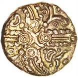 Tasciovanos Hidden Faces. TASCIAVAN[ ]S Type. c.25BC-AD10. Celtic gold stater. 17mm. 5.39g.