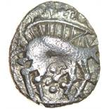 Freckenham Smiler. Talbot EBH unit, die-group 1. c.30-10 BC. Celtic silver unit. 12-14mm. 1.13g.