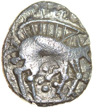 Freckenham Smiler. Talbot EBH unit, die-group 1. c.30-10 BC. Celtic silver unit. 12-14mm. 1.13g.