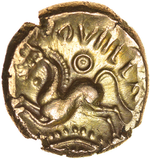 Dubnovellaunos Branch. II Type. c.25-10 BC. Celtic gold stater. 17mm. 5.48g. - Image 2 of 2