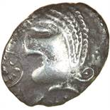 Mossop Proto Head. Talbot Large Flan A, dies F/12.c.50-40 BC. Celtic silver unit. 13-16mm. 1.27g.