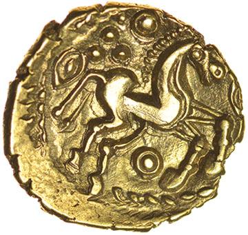 Heybridge Triangle (formerly Heybridge Horse). c.50-40 BC. Celtic gold quarter stater. 12mm. 1.26g. - Image 2 of 2