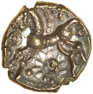 Wonersh Whorls. c.50-40 BC. Celtic gold quarter stater. 10mm. 1.00g. - Image 2 of 2