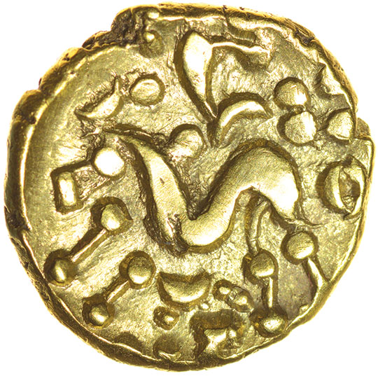 North East Coast.Crude Type with Two Sun-Whorls. c.60-50 BC. Celtic gold stater. 18mm. 6.20g. - Image 2 of 2