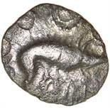 W-Forelegs Proto Boar. Rich Type 16a. c.55-45 BC. Celtic silver unit. 14mm. 1.37g.