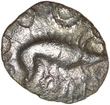 W-Forelegs Proto Boar. Rich Type 16a. c.55-45 BC. Celtic silver unit. 14mm. 1.37g.