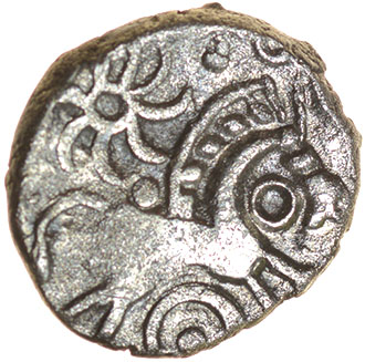 Danebury Ladder Mane. c.55-45 BC. Celtic silver unit. 11mm. 0.72g. - Image 2 of 2
