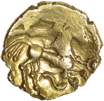 Little Horned Serpent. Sills dies 1/3. c.55-45 BC. Celtic gold quarter stater. 12mm. 1.30g. - Image 2 of 2